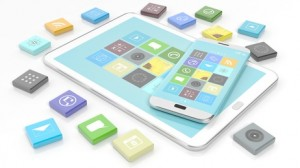 Smartphone and tablet with apps in shape of beveled square, isolated on white background.