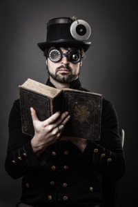 steam punk man with book